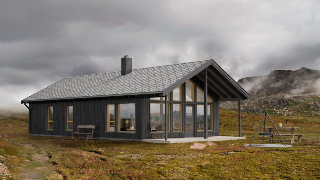 Illustrasjon av den moderne hytten Nordavind