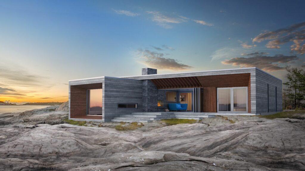 Illustrasjon av den moderne hytten Svaberg