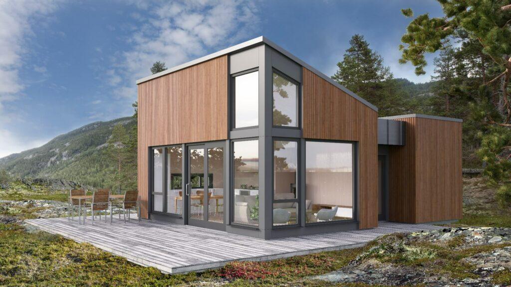 Illustrasjon av den moderne hytten Tinn Moderne