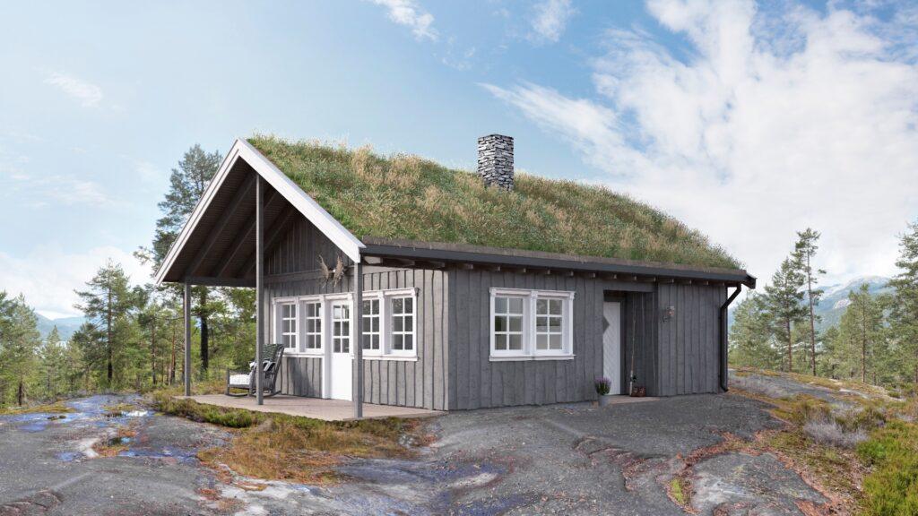 Illustrasjon av en klassisk hyttemodell – Tinn tradisjon