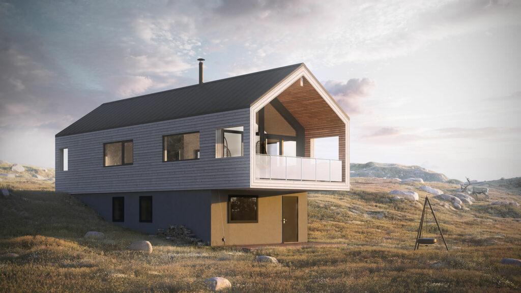 Illustrasjon av den moderne hytten Fjellvang Moderne