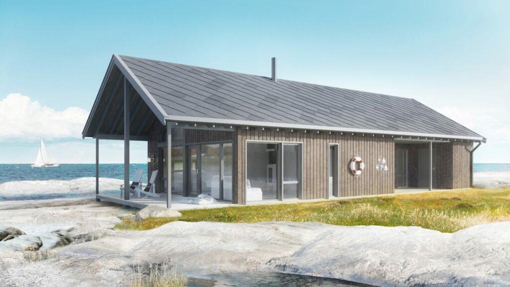 Illustrasjon av den moderne hytten Fjordgløtt