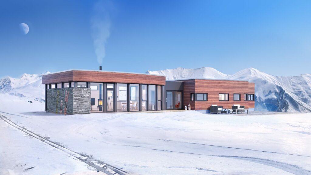 Illustrasjon av den moderne hytta Ormen Lange på høyfjellet
