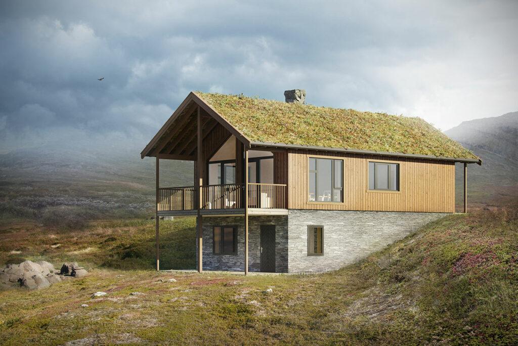 illustrasjon av den tradisjonelle hytta Fjellvang Tradisjon