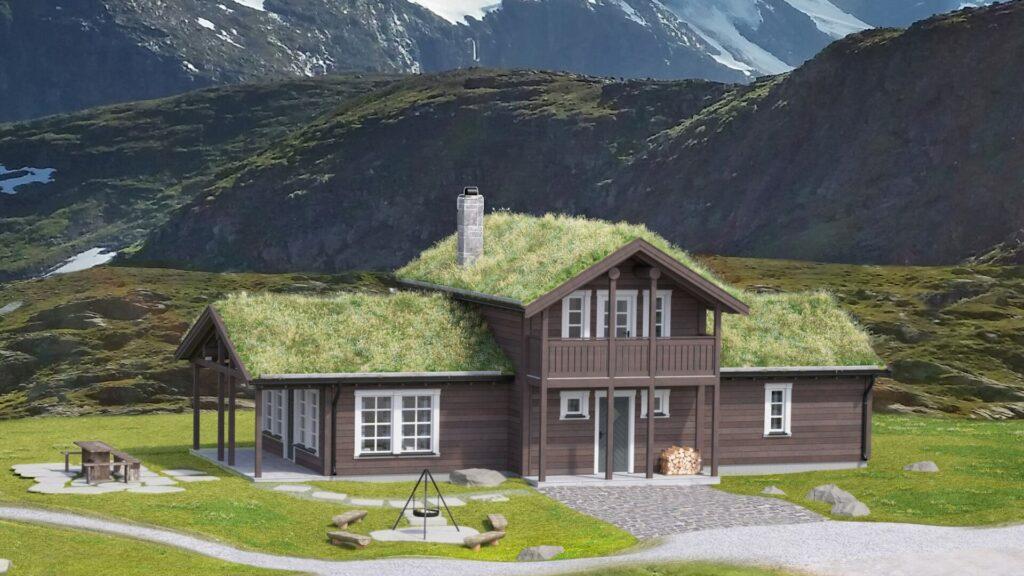Illustrasjon av den tradisjonelle hytten Trolltunet